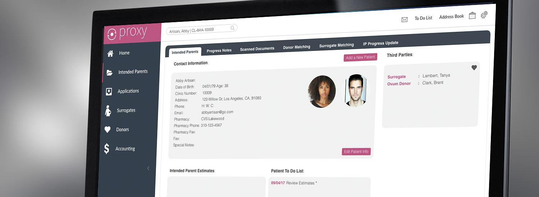artisan-proxy-donor-surrogate-management-computer-screen