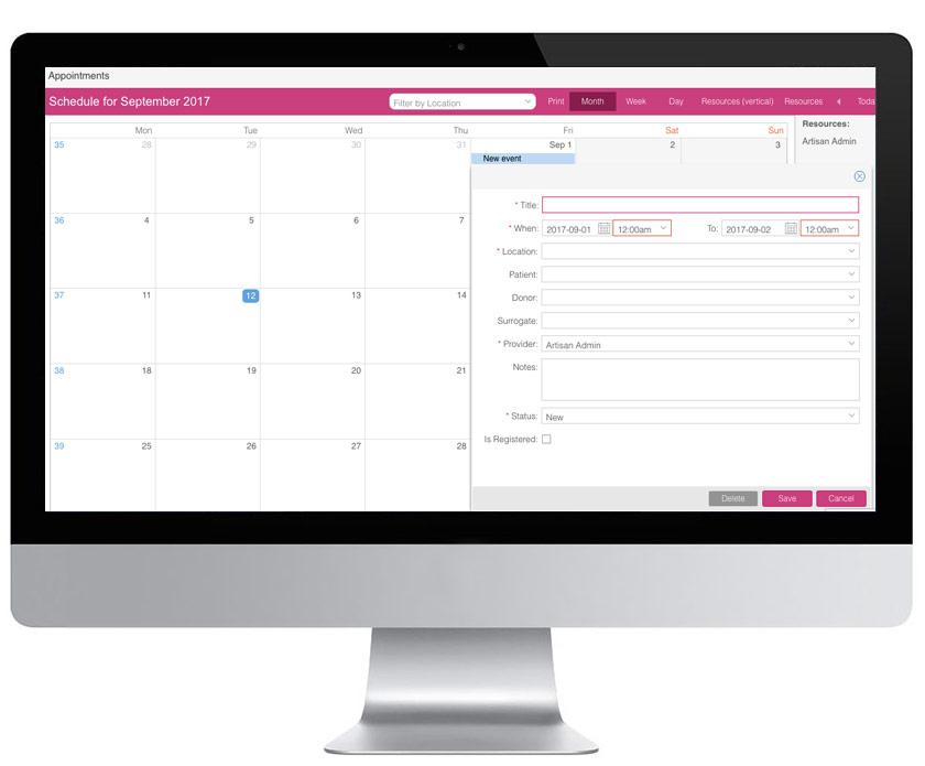 artisan-proxy-donor-surrogate-management-key-features-appointments-calendar